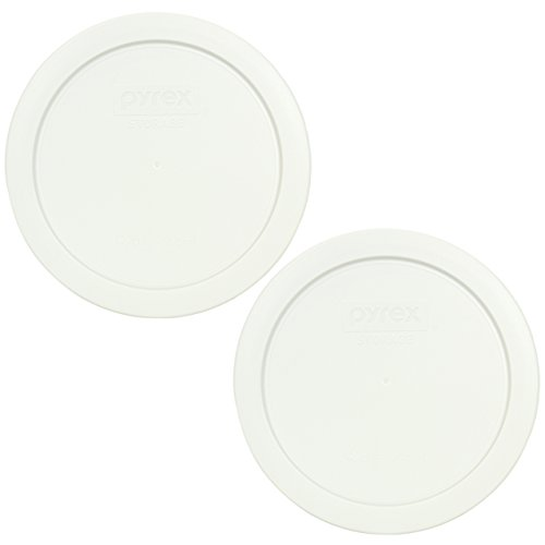 Pyrex 7201-PC Round White 4 Cup Storage Lid for Glass Bowls - 2 Pack
