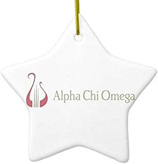 659ParkerRob Christmas Ornaments, Alpha Chi Omega Logo with Lyre Star Ceramic Christmas Ornaments for Christmas Tree Decoration,, Keepsake,New Couples