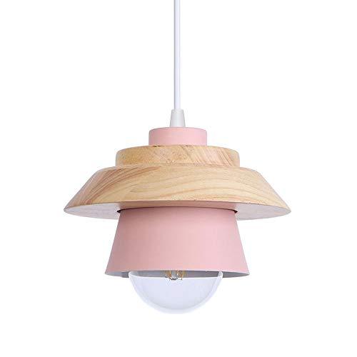 Industrielle LED Pendelleuchte Eisen Lampenschirm Hängelampe Wohnzimmer Dekorativ Deckenleuchte Rosa