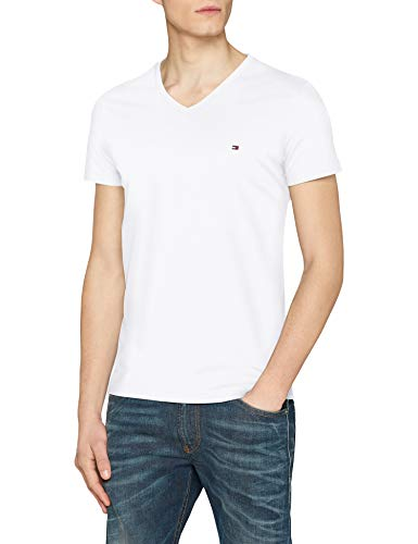 Tommy Hilfiger Herren CORE Stretch Slim Vneck Tee T-Shirt, Weiß (Bright White 100), Large