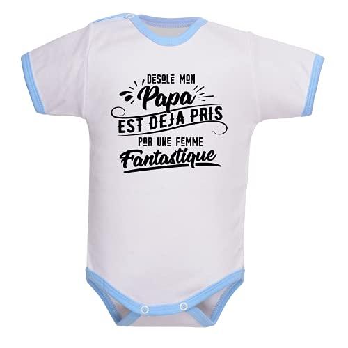 bebe-abord.com Body manches courtes. Bodies enfant. Fille et garçon. Message marrant. Humour. Papa et maman. Cadeau de naissance - blanc/bleu, 3-6 mois