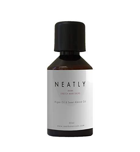 Huile Anti vergetures par NEATLY | 50ml | Soin peau et l'huile pour le corps | Huile d'amande douce et huile d'argan | Avant et après accouchement | Alternative à la creme anti vergeture