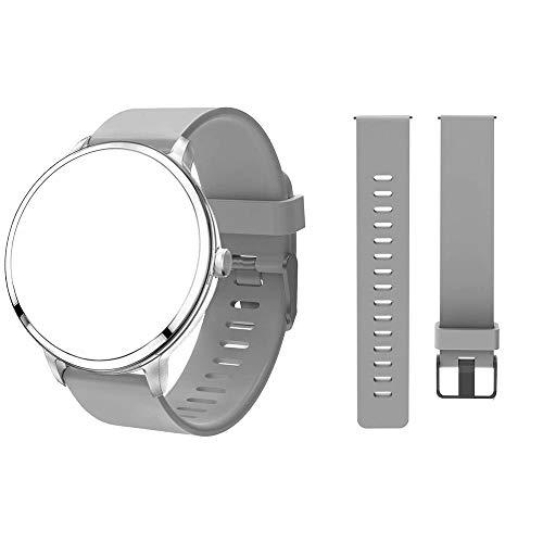 UniqueFit Smart Watch Silikon-Armband, Sport-Uhrenarmband, Handgelenk 16,6 Zoll bis 24,6 cm, Ersatz für Fitness-Tracker-Uhr, silberfarben/weiß
