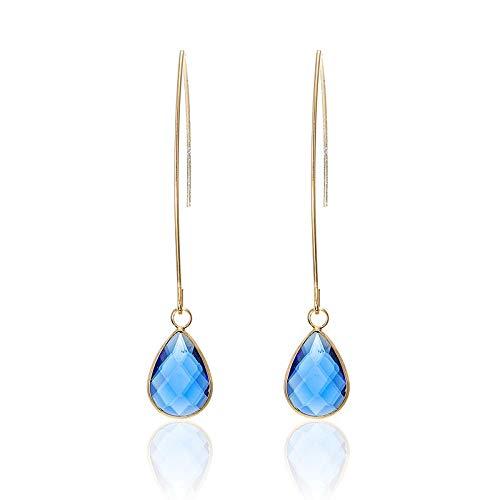 Burenqi Oorbel Vintage Ocean Blue Drop Oorbellen Voor Vrouwen Elegante Zeester Zeeschelp Oorbel Boheemse Strand Sieraden