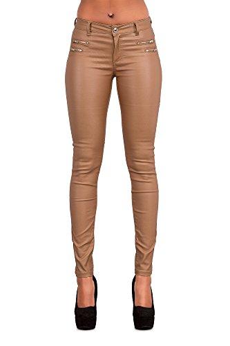 Crazy Lover Hochwertige Damenhosen, Glatte Damen Hose, Frauen Kunstlederhose, PU Lederhose Jean (36, Kamel)