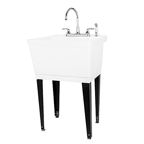 Utility Sink Laundry Tub with Pull Out Duel Setting Faucet by JS Jackson Supplies, Heavy Duty Slop Sinks for Basement, Laundry Room, Garage or Shop, Large Free Standing Wash Station (Chrome Faucet)