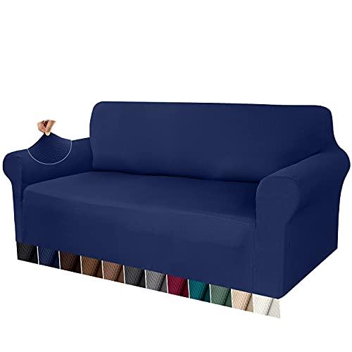 Granbest Funda de Sofá Elástica Funda Sofá Gruesa 1 Pieza Funda para Sofá Premium Antideslizante Protector de Muebles Patrón de Gofre Jacquard (Azul Marino, 4 Plaza)