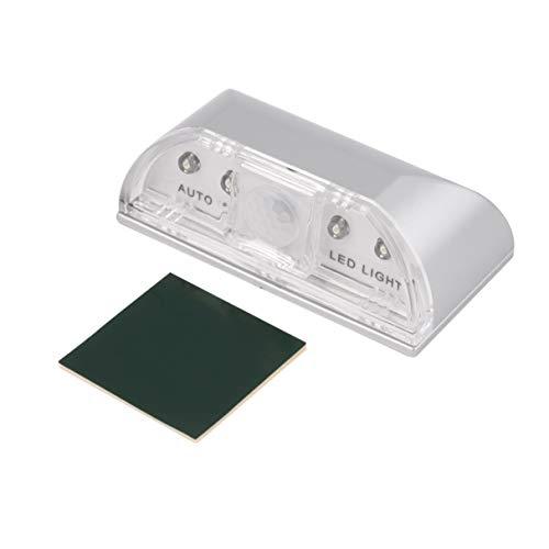 Detector de Sensor de movimiento de ojo de cerradura de puerta PIR automático, lámpara de luz LED plateada para 1 * batería AA, lámpara de movimiento con sensor Led de 4 LED, luz nocturna