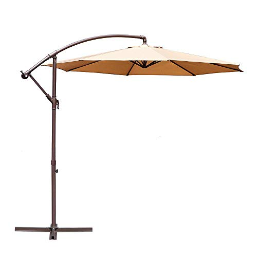 Le Papillon 10-ft Offset Hanging Patio Umbrella Aluminum Outdoor Cantilever Umbrella Crank Lift,Beige