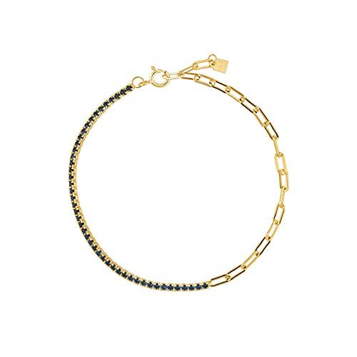 Pulsera de cadena de circonita arcoíris de plata 925 para mujer, bonita joyería de moda Rock Punk, regalo colorido y colorido, pulsera azul de 18 cm