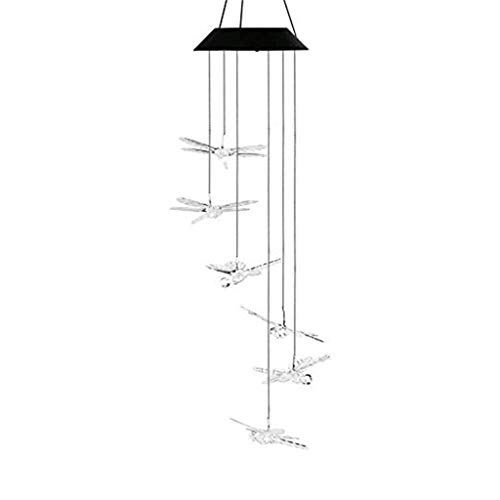Fasclot LED Solar Powered Dragonfly Wind Chimes Light Home Garden Hanging Lamp Decor