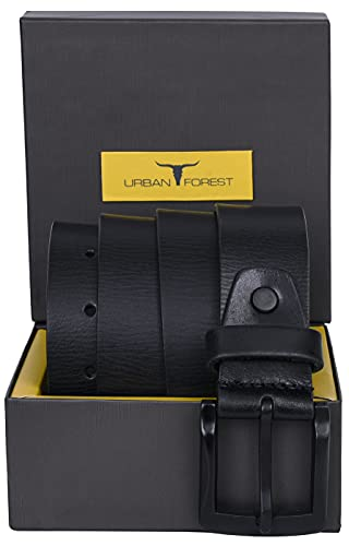 Urban Forest Textured Black Casual Leather Belt for Men with Matte Black Buckle