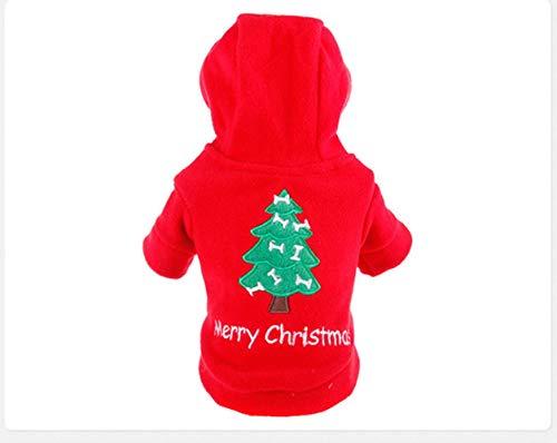 FHKGCD Kerst Rood Huisdier Hond Kleding Jumpsuit Hond Hoodie Jas Kleding Leuke Puppy Kostuum Voor Kat Puppy Hoodie