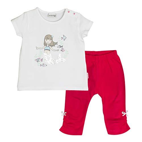 Salt & Pepper Baby-Mädchen Set Meer Uni Print Bekleidungsset, Mehrfarbig (White Hibiscus Red 010-360), 74