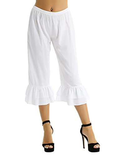 FEESHOW Victorian Lady Pantaloons Ruffle Bloomers Underpants Costume Fancy Dress Long Bloomers White X-Large