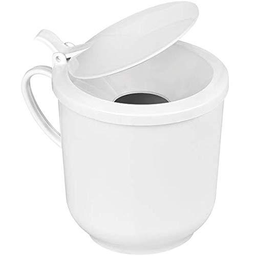 Sputumbecher aus Kunststoff mit Klappdeckel - wiederverwendbar, autoclavierbar und bruchsicher - 410 ml Volumen - Spuckbecher Spuckgefäß mit Deckel Mundspülbecher Speichelbecher