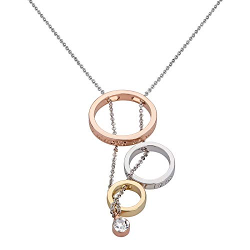 Perlkönig | Damen Frauen | Kette mit runden Anhängern | Silber Rose Gold | Glitzersteine | Nickelabgabefrei
