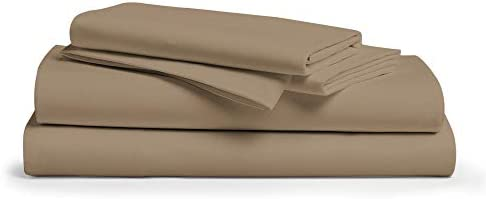 """1000 Thread Count 100% Pure Cotton Bed Sheets on Amazon,4-Pc Sheet Set, Single Ply Long-Staple Cotton Yarns, Best Luxury Sateen Weave, Fits Mattress Upto 18"""" Deep Pocket (Taupe, Queen)"""
