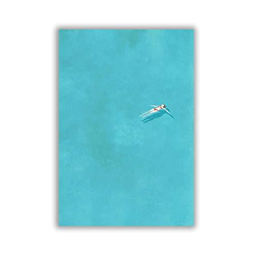 UIOLK Cartel Creativo de la impresión de la Muchacha Sola de la Piscina, Serie de la ilustración Sola Pintura del Arte de la Lona decoración de la Pintura de la Pared del hogar