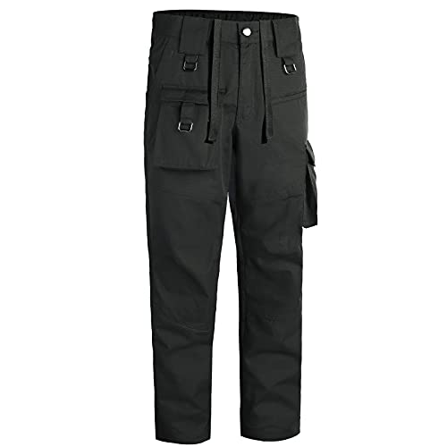 Mens Tactical Pants Relaxed fit Outdoor Cargo Hiking Pants Multi-Pockets Lightweight Waterproof Quick Dry Sweatpant Black
