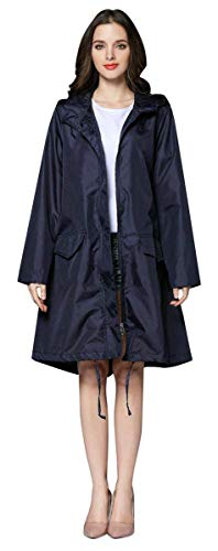 Women's Solid Windbreaker Style Regenjas Womens Classic Look Hooded waterdicht buiten Lightweight Raincoat,C,XL