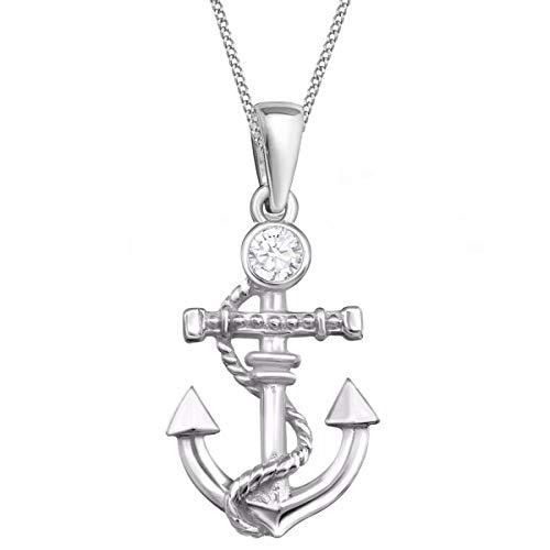 Kristall Anker Anhänger mit Halskette 925 Echt Silber Maritim Mädchen Damen Kette (2) Kristallklar, 50)