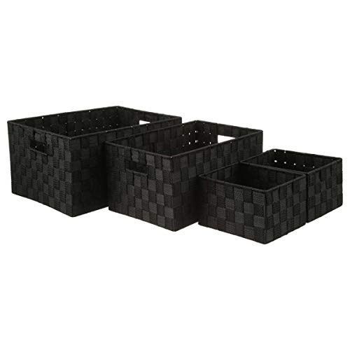 Paniers de rangement - Noir - Lot de 4 corbeilles de rangement