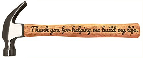 Father's Day Gift Thank You for Helping Me Build My Life DIY Engraved Wood Handle Steel Hammer