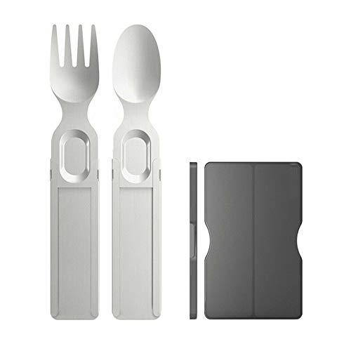 Fxhan 1 set draagbare tableware roestvrij staal telescopische spoon vorm outdoor travel flatware