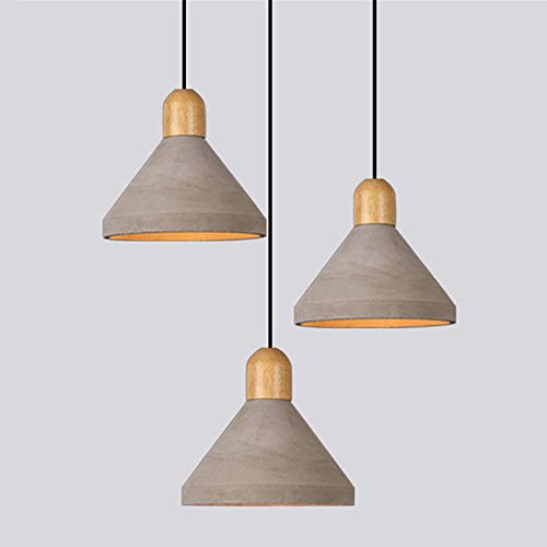 NIUYAO Industrial Pendant Light with 9.65''W Cement Color Shade, Vintage Grey Hanging Lamp Ceiling Chandelier Fixture for Restaurant Bar Kitchen Dining Room 453983