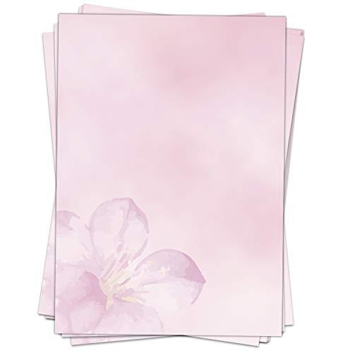 50 Blatt im Set: Wunderbares Briefpapier Rosa Blüte - Motiv Papier Blumen Mädchen DIN A4 - beidseitig