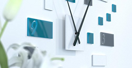 www.deco-julie.fr Horloge Murale scandinave Originale Bleue Canard, Blanche et Gris foncé