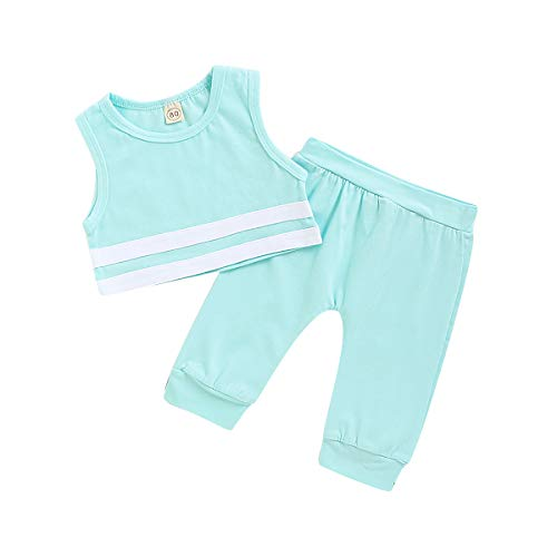 YOUNGER TREE Infant Baby Boys Girls Ssummer Clothing Sleeveless Solid Pant Sets Sportswear for Newborn Baby Kids (Blue, 6-12 Months)