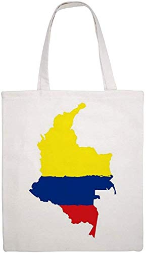 Map of Colombia with Flag Shoulder Bag Canvas Tote Bag, Reusable Grocery Shopping Cloth Bags, Double-sided Printing Tote Handbags