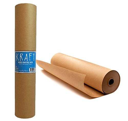 """Kraft Brown Wrapping Paper Roll 18"""" x 1,200"""" (100 ft) – 100% Recyclable Craft Construction and Packing Paper for Use in Moving, Bulletin Board Backing and Paper Tablecloths"""