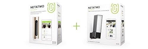 Netatmo Welcome, WLAN Kamera mit Gesichtserkennung, NSC01-EU + Netatmo Presence, Outdoor Sicherheitskamera mit Erkennung von Menschen, Fahrzeugen und Tieren