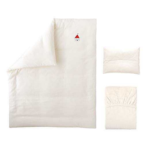 ベビー洗い替えカバー3点セット 《ロゴシリーズ》 【掛・敷・枕】 【日本製】 【無添加ガーゼ】 (ハウス)