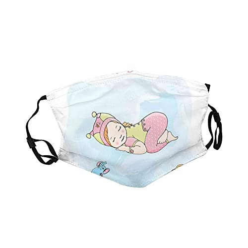 Fillter Face Cloth for Mens and Womens,Girl Sleeping with Her Toys Teddy Tortoise and Elephant Cartoon Illustration,Cold Mouth Dustproof Double Protection