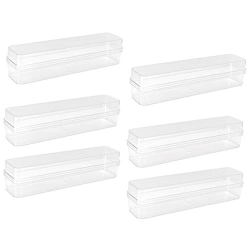 URRNDD Clear Box 6 Set Plastik Candy Box mit Deckel Rechteck Kuchen Geschenkboxen für Gebäck Sushi Candies Supplies