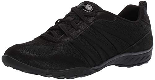 Skechers Breathe-Easy-Be-Relaxed, Zapatillas sin Cordones Mujer, Negro Blk Black Microleather Mesh Charcoal Trim, 36 EU