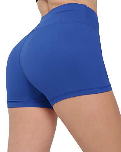 CHRLEISURE Workout Booty Spandex Shorts for Women, High Waist Soft Yoga Bike Shorts 3F Blue M (Apparel)
