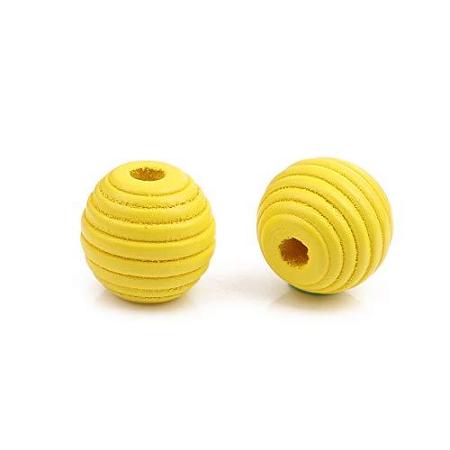 SiAura Material - 30 unidades de perlas de madera amarillas de 17 mm x 18 mm con agujero de 4,6 mm I ovaladas con ranuras I para manualidades, enhebrar y pintar.