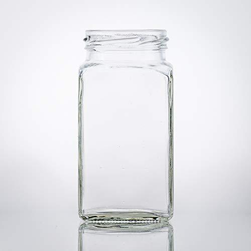 Flaschenbauer - 4 Mini Einmachgläser klein 312 ml Vierkant Gläser mit Schraubverschluss to 58 Weiß - Mini Gläser mit Deckel perfekt als Mini Marmeladengläser klein, Honiggläser Mini
