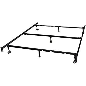 King's Brand 7-Leg Heavy Duty Adjustable Metal Queen Size Bed Frame with Center Support Rug Rollers and Locking Wheel