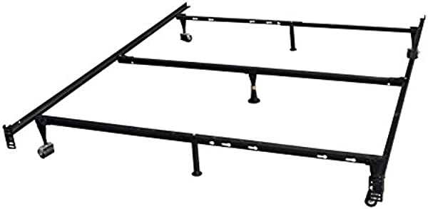 King S Brand 7 Leg Heavy Duty Adjustable Metal Queen Size Bed Frame With Center Support Rug Rollers And Locking Wheel