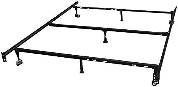 国王 S 品牌 7 腿重型可调金属大号床框架与中心支持地毯辊和锁定轮