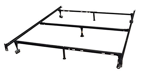 kings king bed frames King's Brand 7-Leg Heavy Duty Adjustable Metal Queen Size Bed Frame with Center Support Rug Rollers and Locking Wheel