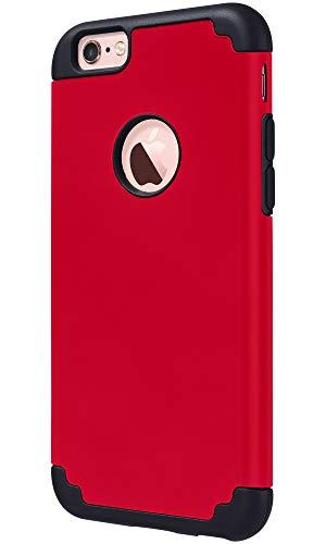 ULAK Funda iPhone 6S, iPhone 6 [Silicona Colorida] Slim híbrido Doble Capa Resistente a Prueba Golpes Dura Cubierta Trasera Shock Absorbente Silicona Caso para Apple iPhone 6/iPhone 6S - Rojo