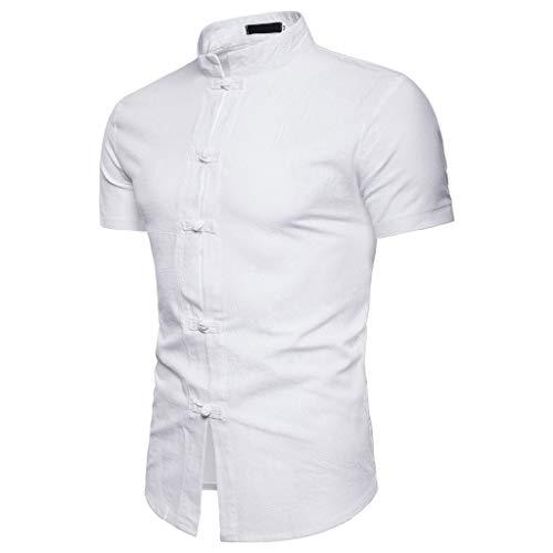 T-Shirts Herren Lässige Sommer chinesische Einfarbig Kurzarm Hemd Stehkragen T-Shirt Top Bluse Regular Slim fit Pullover Weiß Shirt