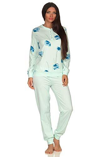 Eleganter Damen Pyjama Schlafanzug Langarm mit Bündchen und Blumenprint - 291 201 90 193, Farbe:helltürkis, Größe2:52/54
